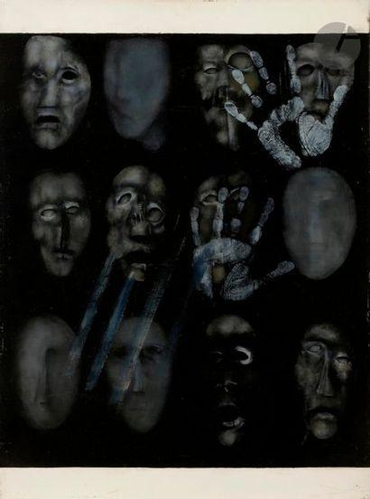 Paul RAMBIÉ (né en 1919) Masque aux empreintes,...