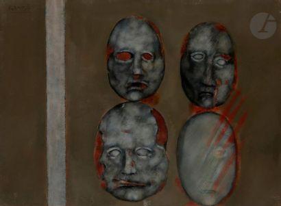 Paul RAMBIÉ (né en 1919) Quatre masques sur...