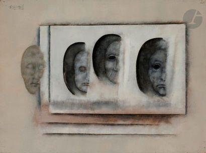 Paul RAMBIÉ (né en 1919) Quatre têtes émergentes,...