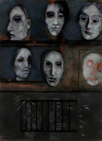 Paul RAMBIÉ (né en 1919) Six masques et trois...