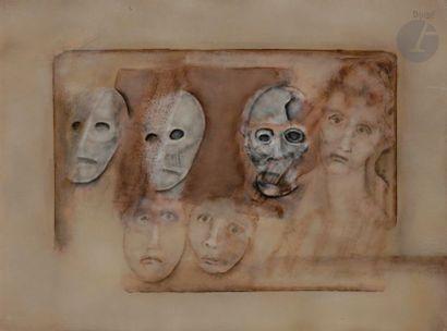Paul RAMBIÉ (né en 1919) Trois masques, trois...