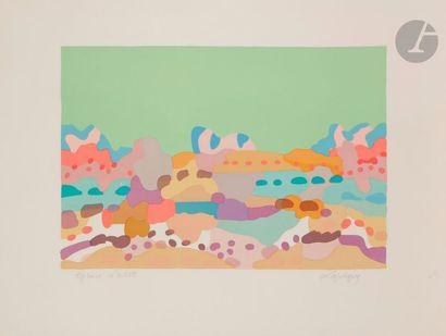 Charles LAPICQUE (1898-1988) Lagune bretonne, 1959 Lithographie. Signée et annotée...