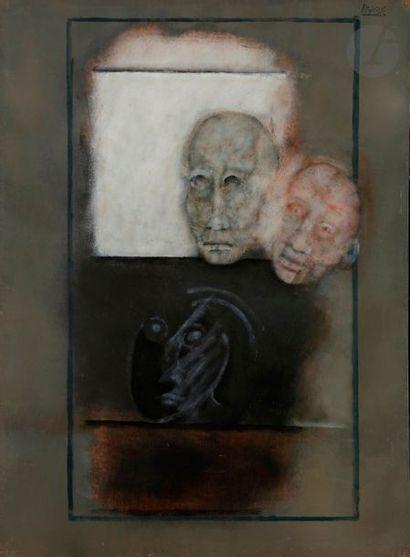 Paul RAMBIÉ (né en 1919) Trois masques, 1983...
