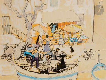 Dany LARTIGUE (1921-2017) La Ponche à Saint-Tropez...