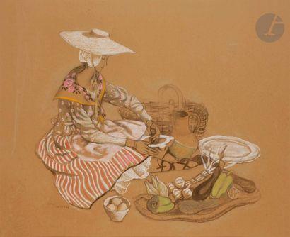 Dany LARTIGUE (1921-2017) La Provençale Pastel....