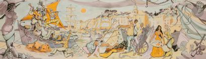Dany LARTIGUE (1921-2017) Allégories de la Provence 2 aquarelles. Signées. 27.5...