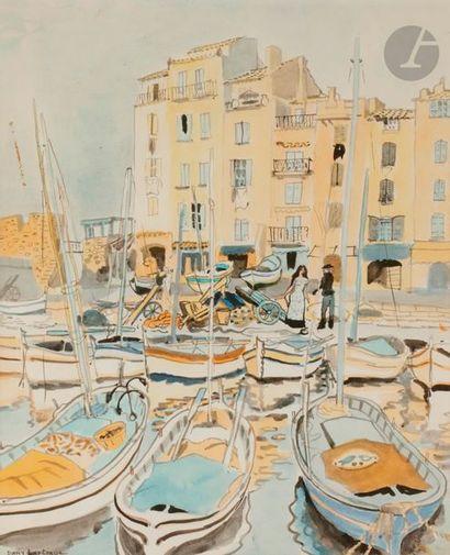 Dany LARTIGUE (1921-2017) Paysage provençal - Port - Bord de mer - Saint-Tropez...