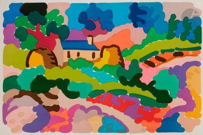 Charles LAPICQUE (1898-1988) Ferme en Bretagne,...