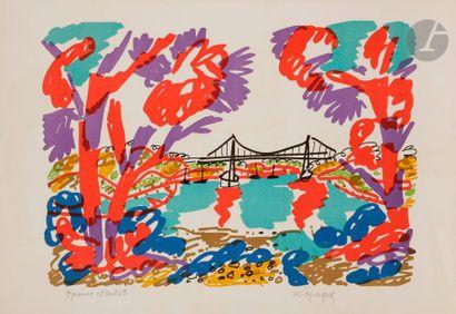 Charles LAPICQUE (1898-1988) Le Pont de Lézardrieux,...