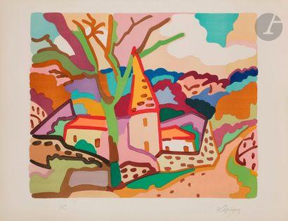 Charles LAPICQUE (1898-1988) Manoir en Bourgogne,...