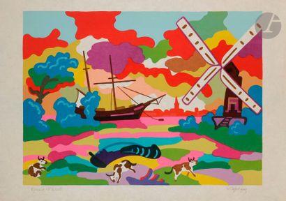 Charles LAPICQUE (1898-1988) Marine hollandaise, 1974 Lithographie sur japon. Signée...
