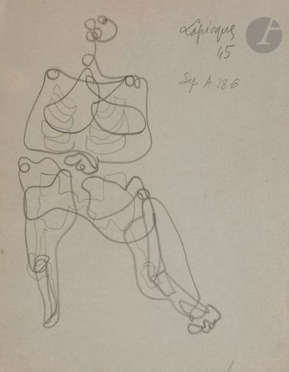 Charles LAPICQUE (1898-1988) Sujets divers, vers 1945-46 7 crayons. Signés ou timbrés....