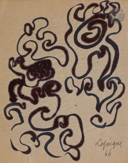 Charles LAPICQUE (1898-1988) Compositions, 1946 2 encres sur calque. Signées et...