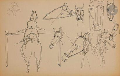 Charles LAPICQUE (1898-1988) Étude de chevaux,...