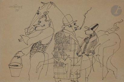 Charles LAPICQUE (1898-1988) Les Quatre amis,...