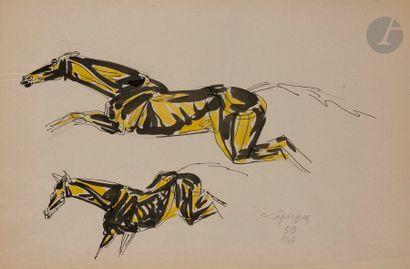 Charles LAPICQUE (1898-1988) Études de chevaux,...