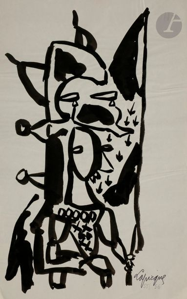 Charles LAPICQUE (1898-1988) Études de personnages,...