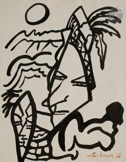 Charles LAPICQUE (1898-1988) Visages, projet...
