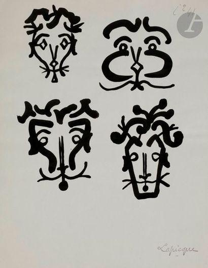 Charles LAPICQUE (1898-1988) Études de visages,...