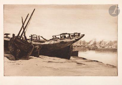 Henri Guérard (1846-1897) Épaves au Pollet...