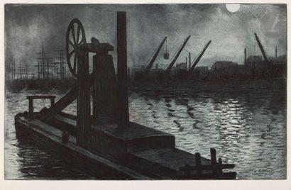 Henri Guérard (1846-1897) La Drague (Dieppe),...