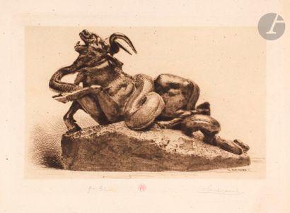Henri Guérard (1846-1897) Auroch attaqué...