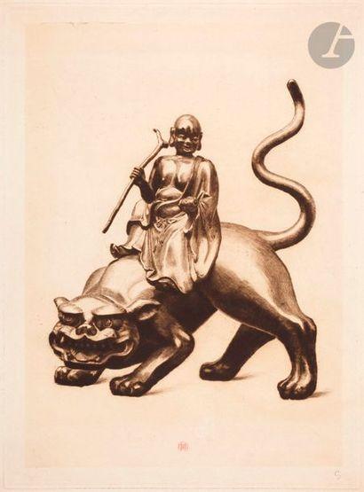 Henri Guérard (1846-1897) Sennin sur un tigre...