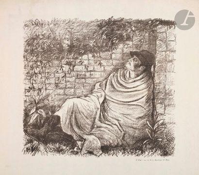 Lucien Pissarro (1863-1944) L'Homme mourant. (Pl. 8 de l'album des Temps Nouveaux)....