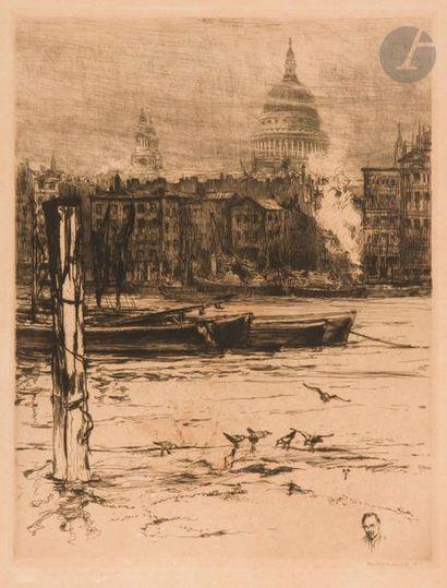 Frank Armington (1876-1941) La Tamise, Londres. 1910. Eau-forte. 380 x 500. Belle...