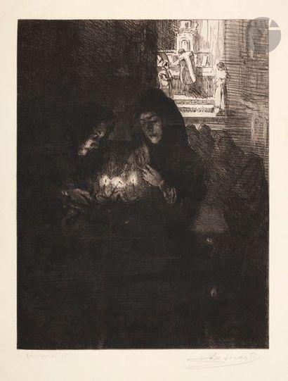 Albert Besnard (1849-1934) Nuit de Noël à Fontarabie. 1904. Eau-forte. 340 x 438....