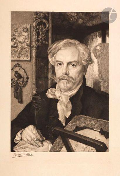 Félix Bracquemond (1833-1914) Edmond de Goncourt. 1881. Etching. 340 x 510. Beraldi...