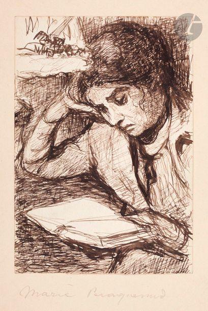 *Marie Bracquemond (1840-1916) Femme lisant, la tête appuyée sur la main. Dessin,...