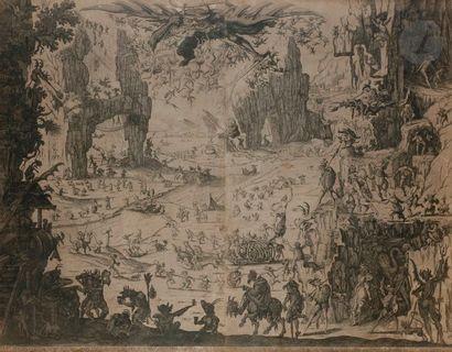 Jacques Callot (1592-1635) (d'après) La Tentation de saint Antoine (1re pl.). Copie...