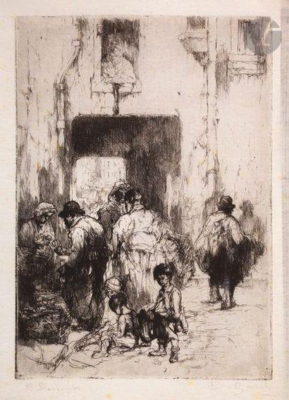 Auguste Brouet (1872-1941) Cour à Clichy....