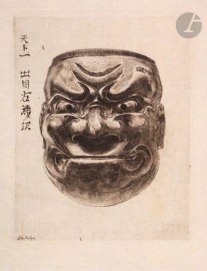 Félix Buhot (1847-1898) Masque en bois. (Pl....
