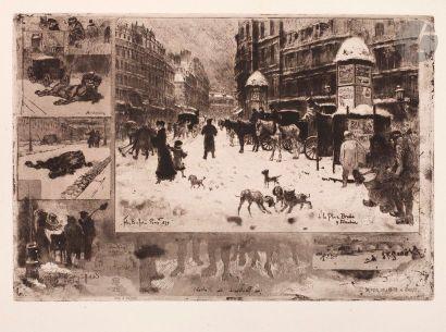 Félix Buhot (1847-1898) L'Hiver à Paris,...
