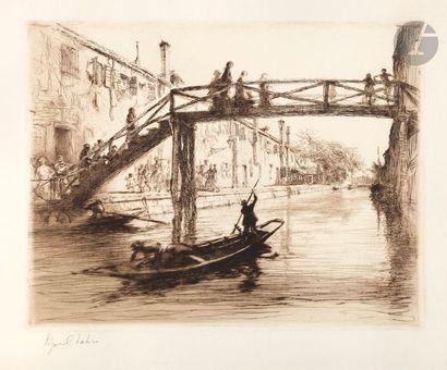 Edgar Chahine (1874-1947) Venise, Ponte del...
