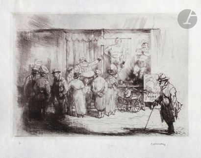Armand Coussens (1881-1935) Lutteurs de foire....
