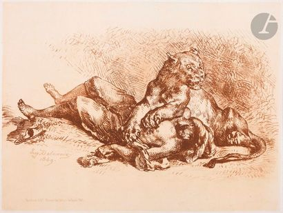 Eugène Delacroix (1798-1863) Lionne déchirant...