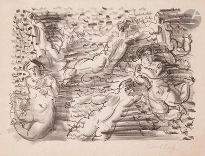 Raoul Dufy (1877-1953) Les Ondines, ou Six baigneuses. Vers 1925. Lithographie....