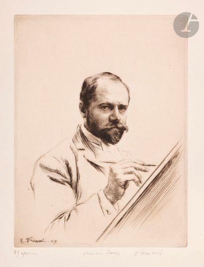 Émile Friant (1863-1932) Autoportrait peignant....