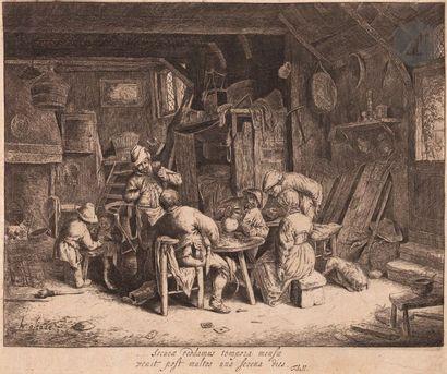 Adriaen van Ostade (1610-1685) Le Petit déjeuner. Vers 1650. Eau-forte. 260 x 218....