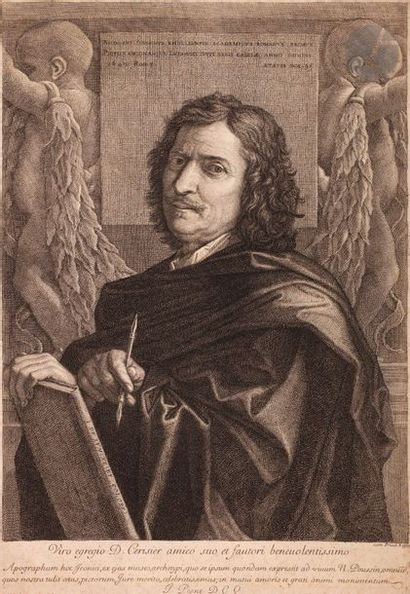 Jean Pesne (1623-1700) Nicolas Poussin. Eau-forte...