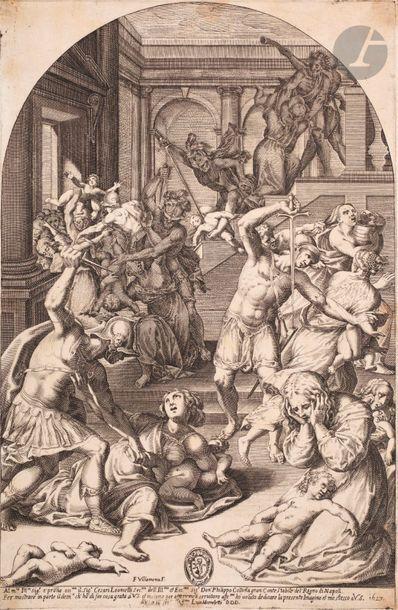 Francesco Villamena (1566-1624) Le Massacre...