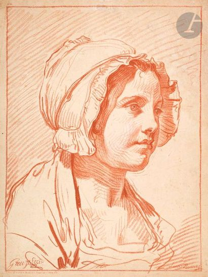 Louis-Marin Bonnet (1743-1793) Buste de femme,...