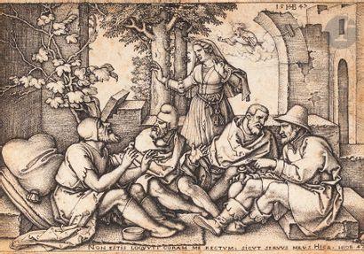 Hans Sebald Beham (1500-1550) Job talking to his friends. 1547. Chisel. 100 x 70....