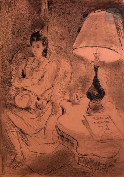 Emilio Grau-Sala (1911-1975) Femme au fauteuil,...