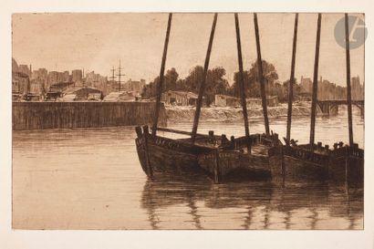 Henri Guérard (1846-1897) La Retenue, Dieppe....