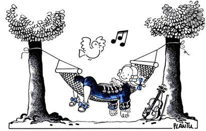 Jean Plantureux dit PLANTU (né en 1951) Musique - Relax with Mozart, avril 1991...