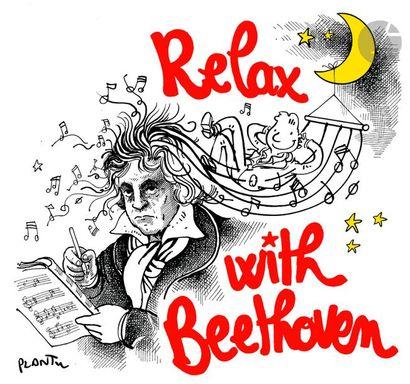 Jean Plantureux dit PLANTU (né en 1951) Musique - Relax with Beethoven, octobre...